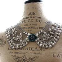 Pearl Peter pan collar necklace, gypsy cowgirl bib necklace, shabby dusty blue statement necklace, country chic, true rebel clothing