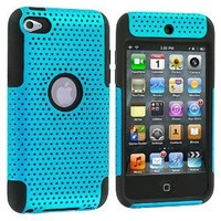 Black / Blue Hybrid Mesh Hard Silicone Case Skin Cover for iPod Touch 4th Generation 4G 4