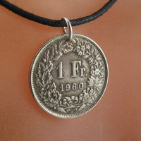 SWISS FRANC coin. charm. necklace. switzerland. helvetia. partsforyou Cecile Stewart   No.001313