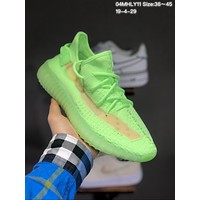 Adidas Yeezy Boost 350V2 Fluorescent green hollow coconut running shoes
