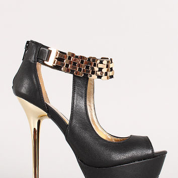Metallic Accent Cut Out Peep Toe Platform Heel