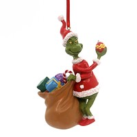 Holiday Ornaments GRINCH WITH BAG ORNAMENT Polyresin Dr. Seuss 4044987
