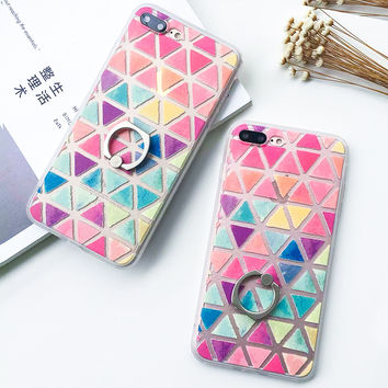 Fashion Candy Color Triangle Case For iphone 6 Case For iphone 6S 7 7 PLus 5 5S Phone Cases Ring Grip Geometric Grid Print Cover