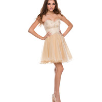 Ivory Tulle & Gold Lace Strapless Dress 2015 Prom Dresses