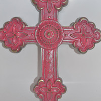 CROSS upcycled pink distressed modern home decor plastic