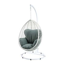 """38"""" X 38"""" X 79"""" Green Fabric And White Wicker Patio Swing Chair With Stand"""