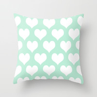Hearts of Love Mint Green Throw Pillow by Beautiful Homes