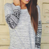 Grey Aztec Print Sleeve T-shirt