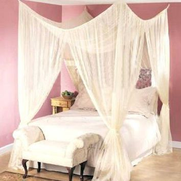Dreamma 4 Poster Bed Canopy Mosquito Net Queen King Size