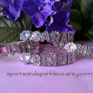 Personalized Bling Rhinestone Heart Charm Bracelet for Brides or Bridesmaids Gifts