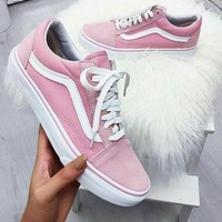 Vans With Warm Casual Shoes Men and women Pink cloth shoes Pink