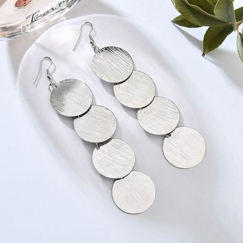 Dangling Burnished Circles Earrings in Gold or Silver