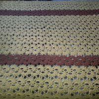 """Vintage Retro Mod Handmade Yellow Mustard and Brown Afghan Blanket - Unique Design - 59"""" x 78"""""""