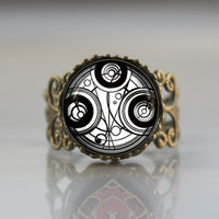 Doctor Who Adjustable Ring, Dr Who masters fob ring, Doctor Who Timelord Seal ring jewelry