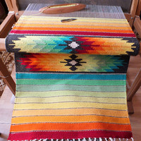 Handwoven wool rug - made to order - green, yellow, red, blue and more