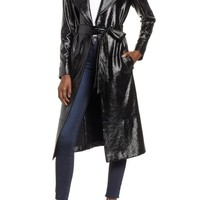 Leith Faux Patent Leather Trench Coat | Nordstrom