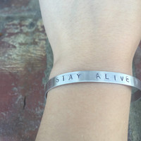 Stay Alive- Hand Stamped Twenty One Pilots Bracelet