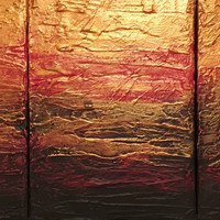 "ARTFINDER: Beauty in the Breakdown red gold impasto triptych abstract original  abstract painting art canvas - 60 x 28 inches by Stuart Wright - Title "" Beauty in the Breakdown ""
