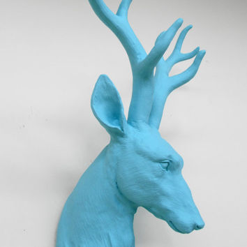 Deer Head, Coast Blue,  Faux Taxidermy, Stag Head Australia, Faux Deer Head, Animal Head, Wall Mount Stag, Hodi Home Decor, Blue Stag Head