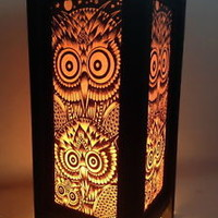 Boho Chic OWL Art Lamp Bedside Decorative Lantern Handmade Paper Print Design