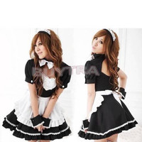 Hot French Maid Halloween Costumes Princess Bowknot Cosplay Fancy Dress Uniform