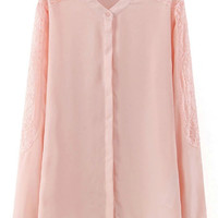 Pink Lace Paneled Sleeve Chiffon Blouse