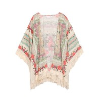 Hippy Floral Knitted Shawl