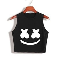 2017 New Arrival Summer Women Tops marshmello face Crop Top High Quality Cropped tumblr clothing camisetas mujer Loose Tank Top