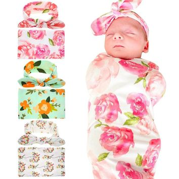 2017 Adorable Newborn Infant Baby Swaddle Blanket Baby Sleeping Swaddle Muslin Wrap Headband Floral Baby Blankets 3Color