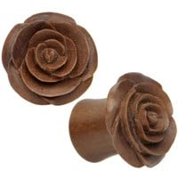 "7/16"" Organic Sabo Wood Rose Hand Carved Plug Set"