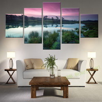 5 Panel Wall Art Modern Printing Lake Sunset Landscape Oil Painting Canvas Wall Pictures For Living Room Home Decor Unframed