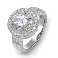Bling Jewelry Sterling Silver Vintage Style CZ Oval Stone Engagement Ring