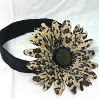 Baby Cheetah Print Flower Headband/Toddler Headband/Child Headband