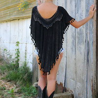 El Dorado Black Light Acid Wash Poncho Top With Crochet & Tassel Details