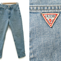 Vintage Guess Jeans~Size Medium/Waist 28~80s 90s High Waisted Light Wash Blue Denim Pants~By Guess U.S.A.