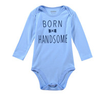 Baby Boy Clothing Letter Born Handsome Rompers For Newborn Baby Boys Long Sleeve Romper Infant Clothes