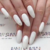Sexy white Perforated circle finished False nails.Middle-long lady full nail tips Pure color series bride fake nail 24pcs/set