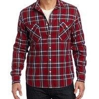 Lucky Brand Mens Men's Cabin Plaid Woven Shirt, Red Plaid, Large