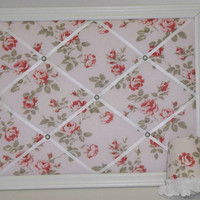 Shabby Chic Pink Rose Framed Memo Board & Night Light