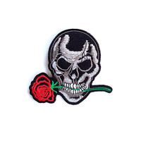 Skull with Red Rose Applique Iron on Patch Size 9.6 x  8.8 cm