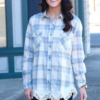 Checked Plaid Lace Trim Blouse {L. Blue}