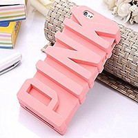 iPhone 6 Plus Case, JEPN 3D PINK big letters Silicone Case for the Apple iPhone 6 Plus 5.5 inch - Powder