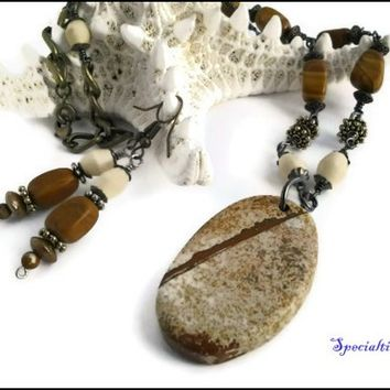 23 inch Natural Stone Pendant Wooden Bead Necklace and Earring Set   specialtivity - Jewelry on ArtFire