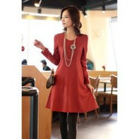 Concise Scoop Neck Solid Color Back Zipper Design Button Cuff Long Sleeves Dress For Women