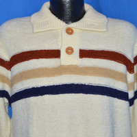 80s Striped Boucle Knit Button Up Turtleneck Sweater Large