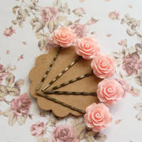 Pink Roses Hair Bobby Pins. Romantic Sweet Pink Bloomed Garden Roses. A set of 5 Nature Inspired Wedding Bridal Rose Hair Accessories.
