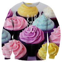 Cupcakes Print Long Sleeve Sweatshirt