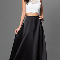 Two Piece Lace Top Xscape Prom Dress