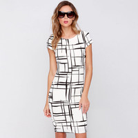 Black and White Line Print Short Sleeve Bodycon Mid Dress