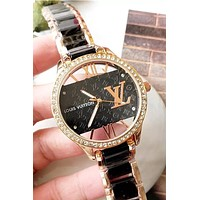 LV watch Louis vuitton new men and women models with diamond case simple and versatile quartz watch Black